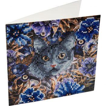 CCK-A4 Deimantinės mozaikos rinkinys - Katinas, 18x18 cm, atvirukas