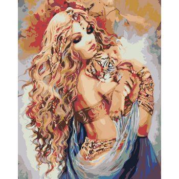 Piešimas pagal skaičius - Moteris su tigriuku (40x50 cm)
