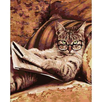 Piešimas pagal skaičius - Katinas su laikraščiu (40x50 cm)