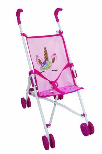 BD1852 BAMBOLINA lėlės vežimėlis su vienaragio atvaizdais Amore