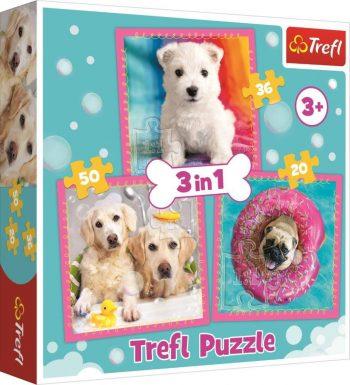 """34845 TREFL 3 dėlionių rinkinys """"Šuniukai"""""""