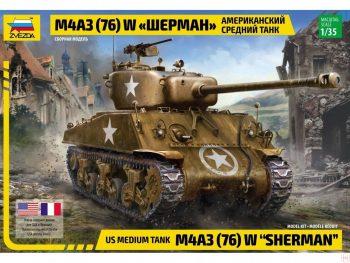 "3676 Zvezda - US Medium Tank M4A3 (76)W ""Sherman"", 1/35"
