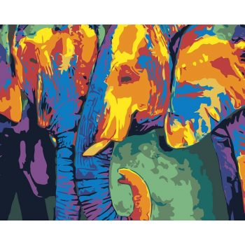 """Piešimas pagal skaičius """"Trys drambliai"""" (40x50 cm)"""