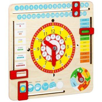 Lavinamasis stalo žaidimas medinis Laikrodis-kalendorius RU